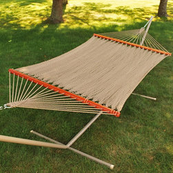 Algoma Deluxe Caribbean Soft Polyester Rope Hammock - There is no better way to relax in the sun or shade. This Algoma Deluxe Caribbean Soft Polyester Rope Hammock is made of a tight weave golden brown soft polyester rope. It is securely anchored with hand turned spreader bars. Stability is guaranteed with the oversized plated O-ring and hardware. No matter where or when you want to relax, choose a hammock.