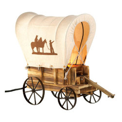 n/a - Western Wagon Table Lamp - This tabletop wooden wagon lamp features metal wheels and a wagon cover with silhouettes of cowboys and horses.  Wood and iron.  UL recognized .  Type A, maximum watt 40 light bulb not included.