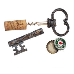 "EttansPalace - The Bishop's Church Key Corkscrew and Bottle Opener: Set of Three - Featuring a handsome verdigris patina and scrolling grapevine motif, this bottle opener will never be hidden away in a drawer. Our is cast directly from an antique original in solid iron. With its stainless steel corkscrew, it will provide many years of entertaining and please any wine lover on your gift list. 5""L. 1 lb."