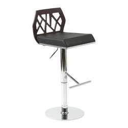 Eurostyle - Eurostyle Sophia Swivel Bar/ Counter Stool in Wenge/ Black & Chrome - Swivel Bar/ Counter Stool in Wenge/ Black & Chrome belongs to Sophia Collection by Eurostyle If you ever wanted to invite Frank Lloyd Wright over for a cocktail, he might've passed on the olive and stared at the chair. An intriguing cutout design on the back combined with upholstery and chrome make the Sophia chair a study in form and function. Bar/ Counter Stool (1)