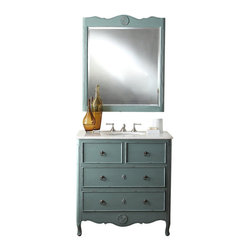 "Benton Collection - 34"" Cottage Look Daleville Bathroom Sink Vanity W/Matching Mirror - Hf081Y - Dimensions: 34 x 21 x 35"" H"