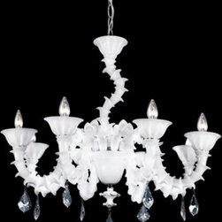 Eurofase 19533-018 Firolia, 8-Light Chandelier, Chrome, White - The crafting technique of the Venetian glasswork masters comes to life in the Firolia family. Inspired by the original artistry of the Italian artisans, curved ivory glass arms are encircled by luxurious roped glass. The tranquil chandelier bulbs are set in the uniquely curled lips of the shades and are accented by tantalizing dropped crystal-cut accents. Firolia is at once both complex in its design and simple in its ministration of quality vintage lighting.