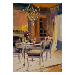 French Dining Room, Original, Painting - This painting of french dining room, is an original painting which depicts a lovely window scene of a french provincial chateau interior. the french dining table and chairs are beautifully framed by a heavy curtain that is touch by bits of sunlight on fabulous french home decor!