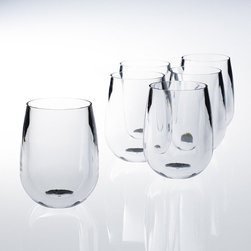 Frontgate - Set of Six 12 oz. Stemless Wine Glasses - Each piece offers insulation benefits similar to double-walled tumblers, keeping beverages cold or hot longer while reducing sweating. Safe for residential and commercial dishwashers. Available in sets of six. Allows you to entertain indoors or out without worrying about broken glasses. FDA- and NSF-approved. With World's End Unbreakable Pubware, you can enjoy the look, weight and feel of glass without worrying about breakage. This ultra-durable, BPA-free drinkware mimics the qualities of real glass. Dishwasher safe; won't cloud, crack or discolor even after hundreds of washings.  .  .  .  .  . Made in the USA.