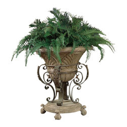 Butler Specialty - Butler Specialty Metalworks Stone Bowl Planter - Butler Specialty - Flower Pots / Planters - 0928025. This beautiful floor planter features a cast stone pot and base. An all metal frame is accentuated with delicate ribbon scroll details 4 carved stone feet. A perfect planter for your live or silk plants.
