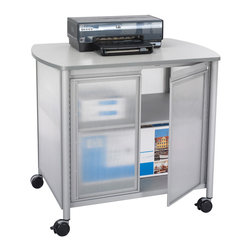 """Safco - Impromptu Deluxe Machine Stand with Doors - Grey - Attractive machine stand with double doors, featuring steel frame and translucent polycarbonate panels, adds a touch of class to your office area. Generously sized Gray laminate top accommodates most office machines. Storage with one fixed interior shelf underneath for office supplies. Includes cord management. Silver powder coat finish. Four swivel casters (2 locking). ; Features: Material: Steel, Plastic; Color: Grey; Finished Product Weight: 60 lbs.; Assembly Required: Yes; Tools Required: Yes; Limited Lifetime Warranty; Dimensions: 34 3/4""""W x 25 1/2""""D x 30 3/4""""H"""