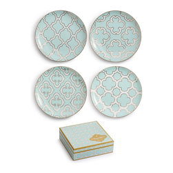 Rosanna - Rosanna Alhambra Appetizer Plates, Set of 4 - From the Alhambra Collection by Rosanna comes these set of four appetizer plates. Made of porcelain and trimmed in 24KT gold.