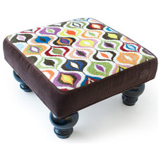 eclectic ottomans and cubes by Jonathan Adler
