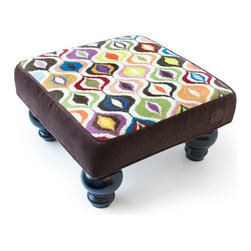 Jonathan Adler Bargello Waves Footstool in Footstools - Needlepoint footstools are no longer for Grampa and his forty cats. Combining this once fusty item with happy patterns lets them add high style to any room.