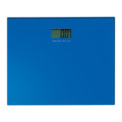 Gedy - Square Blue Electronic Bathroom Scale - Square contemporary blue glass electronic bathroom scale.