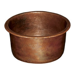 Native Trails - Diego Copper Bar Sink, Antique - The most compact of Native Trails' round copper bar sinks, Diego is simple yet sophisticated; a beautiful addition to a smaller entertainment space - inside or out. With near-vertical walls, its bottom surface area is larger than expected, a big plus in a smaller space. Install as a copper undermount bar sink for a smooth countertop, or as a copper drop-in bar sink for easy installation. Diego bar & prep sink is artisan crafted; forged of high-quality recycled copper. Want to benefit from the bacteria-fighting power of copper? Studies prove that copper itself kills harmful bacteria.