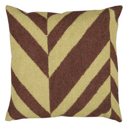 "Surya - Surya FA-031 Slanted Stripe Pillow, 22"" x 22"", Down Feather Filler - Make your room jump with this delicious pillow featuring a striking stripe pattern. Highlighted by smooth chocolate coloring, this piece is not just a one hit wonder, but will remain a timeless part of your room for years to come! This pillow contains a zipper closure and provides a reliable and affordable solution to updating your home's decor."