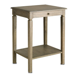 Currey and Company - Walton Side Table - With a clean natural feel and a drawer for storage space, this side table is pleasant and functional. A natural finish reveals the grain qualities of the wood. Wipe spills immediately with soft dry cloth. Always use coasters or mats. Never place cups, glasses or anything hot directly on the surface. This could cause discoloration.