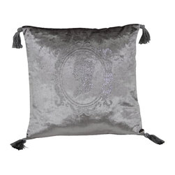 VIG - Modrest Silver Faux Crystal Throw Pillow, Silver - Modrest Silver Faux Crystal Throw Pillow
