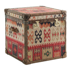 Kathy Kuo Home - Taos Global Bazaar Kilim Tapestry Cube Chest Side End Table - This eclectic, Global Bazaar end table brings rich leather and tapestry with an air of wanderlust. The rugged, distressed leather trim and handles welcome you home and invite relaxation by the fireside in your favorite chair. Woven kilim in gorgeous earth tones completes the gorgeous accent piece.