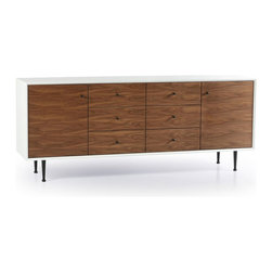 Katrine Sideboard - Store your things without a shelving unit. This spacious white-and-walnut credenza gives you plenty of room to organize your dishes or other belongings without monopolizing wall space. With six generous drawers and two cabinets, you're sure to find a place for everything.