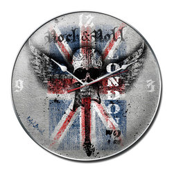 Rock and Roll Metal Sign Wall Decor 14 x 14 Clock - Rock and Roll Metal Sign Wall Decor From the Ralph Burch licensed collection, this Rock and Roll Clock measures 14 inches by 14 inches and weighs in at 3 lb(s). This Clock is hand made in the USA using heavy gauge american steel and a process known as sublimation, where the image is baked into a powder coating for a durable and long lasting finish. This Clock includes an American made quartz Clock movement (requires one AA battery) for years of accurate time keeping and is covered with a clear acrylic lens.