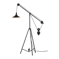 Zuo - Jasper Floor Lamp - The industrial style of the metal Jasper Floor Lamp lends itself to the revolutionary age of design.  The design from the ultimate era of change and revolution can bring the same transformation to your space with the functional pulley system design.  The Jasper Floor Lamp offers ingenuity, quality and design all in a stylish piece with an antique gold finish.  This unique floor lamp provides superb task lighting in the living room, keeping room, bedroom or home office and can be the final touch to complete your space.