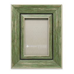 Lawrence Frames - 4x6 Weathered Green Decorative Picture Frame - Gorgeous wide weathered green composite picture frame.  Beautiful casual textured finish that will be a great decorative addition to any room.  Comes with a two way easel for vertical or horizontal table top display, and hangers for vertical or horizontal wall mounting.  High quality black velvet backing.  Picture frame comes with glass to protect your photo, and is individually boxed.