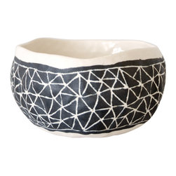 Black Etched Bowl - Hand-pinched bowl in black and white from Brooklyn artist Suzanne Sullivan. Due to their handmade nature, each bowl is slightly different in pattern and size. Use to hold jewelry, small items or for kitchen serving bowls.