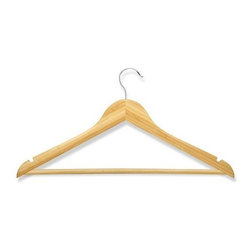 Honey Can Do - Honey Can Do 8 Pack Wood Suit Hanger- Bamboo Finish - A nice version of a classic design, these high-quality hangers are crafted from sustainable bamboo with a smooth, natural finish for a smart way to hang clothes and keep them looking good. The design is slender and contoured to help maintain the natural shape of a suit jacket, and the horizontal bar is great for slacks. Non-slip surface and dual grooves in the hanger's upper edge are perfect for fine blouses and spaghetti strap dresses. The hanger's hook is large and sturdy with an attractive chrome finish and a swivel design for easy use. Packaged here in a set of eight, the piece is also available in ebony and carries a limited lifetime warranty from Honey-Can-Do. A gorgeous upgrade for any closet.