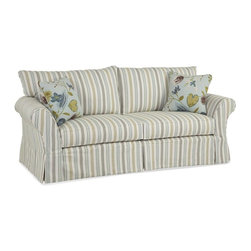 Chelsea Home - Riley Upholstered Sofa - Includes toss pillows. Medium seating comfort. 0.88 in. engineered hardwoods cut on a C and C router frame. Frame joints are interlocked and glued for strength and durability. Corners are block reinforced to provide extra stability for longevity. Reversible seat cushions. Zippered pillows. Heavy gauge coils are used in the drop in coil unit for consistent seating. Seat cushion is 1.8 high resiliency foam core surround by luxurious fiber for softness and wrapped in a down proof ticking cover. View seaspray 100% cotton sofa fabric. Sun cloud 55% linen, 45% rayon throw pillows fabric. Constructed with top of line drop in coil unit surrounded by angle iron and then secured to the frame for inner strength. Made in USA. No assembly required. Seat: 21 in. L x 29 in. W x 21 in. H. Overall: 91 in. L x 38 in. W x 37 in. H (190 lbs.)Our beautiful slip cover collection is specially crafted with you in mind. Our unique slipcover system allows you to change your cover whenever you want. Whether it be a little dirty, a new season, or you are just bored with your current look, we have you covered.