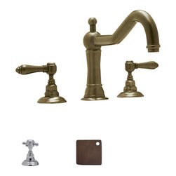Rohl - Rohl Acqui Country Deck Mount Tub Filler with Cross Handles A1414XM - Tuscan Brass is a living finish, this means the color will continue to change & can patina.