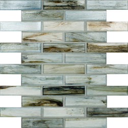 "Glass Tile Oasis - Evergreen Blend 1"" x 4"" Green Pool Glossy Glass - Sheet size:  12.5"" x 10""     Tile Size:  1"" x 4""     Tiles per sheet:  30     Tile thickness:  1/4""     Recycled Components:   70%     Sheet Mount:  Paper Face       Sold by the sheet    - Waterfall glass tiles are each a one of a kind work of art. Each style features complimentary colors  shot through with transparent layers of contrasting colors. Mosaics are stacked together creating a unique repeating pattern.Waterfall are hand-poured and will have a certain amount of variation and variegation of color  tone  shade and size. Additionally  you will notice creases  wrinkles  shivers  waves  bubbles topped off with a natural surface to catch all forms of light for a brilliant effect. These characteristics of natural glass only serve to enhance the final beauty of the installation."