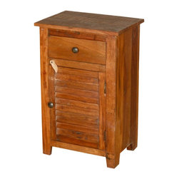 """Sierra Living Concepts - Oklahoma Farmhouse Reclaimed Wood Shutter Door End Table - Keep things relaxed and organized with our Oklahoma Farmhouse Shutter Door End Table Mini Cabinet. This rustic little cupboard is 19"""" wide and 29"""" tall so you can fit it into small corners and tight spaces. Use it as a bedside table and enjoy extra storage with a top drawer and a two shelf cupboard. This versatile storage system is smart kitchen storage, a handy end table or a standing bathroom cupboard"""