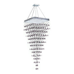 "Worldwide Lighting - Icicle 10 Light Chrome Finish Raindrop Crystal Chandelier 28"" Square - This stunning 10-light Crystal Chandelier only uses the best quality material and workmanship ensuring a beautiful heirloom quality piece. Featuring a radiant chrome finish and finely cut premium grade crystals with a lead content of 30%, this elegant chandelier will give any room sparkle and glamour. Dual-mount option for flush or suspension. Worldwide Lighting Corporation is a privately owned manufacturer of high quality crystal chandeliers, pendants, surface mounts, sconces and custom decorative lighting products for the residential, hospitality and commercial building markets. Our high quality crystals meet all standards of perfection, possessing lead oxide of 30% that is above industry standards and can be seen in prestigious homes, hotels, restaurants, casinos, and churches across the country. Our mission is to enhance your lighting needs with exceptional quality fixtures at a reasonable price."