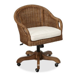 Wingate Rattan Swivel Desk Chair, Pecan Stain - I like the texture of the wicker for an office/library. The brown would make a good contrast against whites and blues.