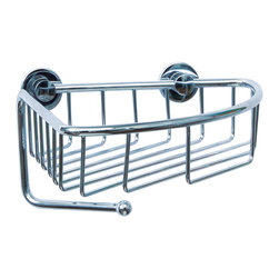 "nie wieder bohren - Germany - no drilling required  Corner Bath Caddy - Rustproof - no drilling required single corner caddy by nie wieder bohren Germany. Constructed of rustproof solid brass and finished in lifetime chrome, this caddy installs on all premium surfaces without drilling and even over grout lines. 7"" depth basket with a 2"" retainer and hook for loofah. Simple. Safe. Secure."
