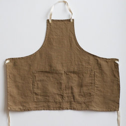 Apron Linen Brown by smallbatchproduction - Wrap yourself in warmth with this cozy linen apron. Looks beautiful on or just hanging from a hook on the pantry door.