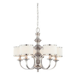 Nuvo Lighting - Nuvo Lighting 60/4735 Candice Five Light Chandelier With Pleated White Shades In - Candice - 5 Light Chandelier w/ Pleated White Shades