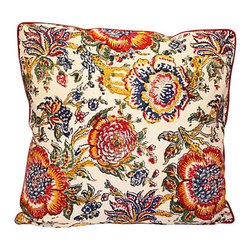 Floral Block Print Pillow - If you like your florals on the spicy side, toss this pillow into your mix. It's got an Indian block print on the front, stripes on the back and overlocked seams all around. What an elegant way to add an exotic touch.
