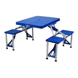 Picnic at Ascot - Portable Plastic Picnic Table, Blue - Features: