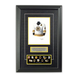 "Heritage Sports Art - Original art of the NHL 1975-76 Bobby Orr jersey - This beautifully framed piece features an original piece of watercolor artwork glass-framed in an attractive two inch wide black resin frame with a double mat. The outer dimensions of the framed piece are approximately 17"" wide x 24.5"" high, although the exact size will vary according to the size of the original piece of art. At the core of the framed piece is the actual piece of original artwork as painted by the artist on textured 100% rag, water-marked watercolor paper. In many cases the original artwork has handwritten notes in pencil from the artist. Simply put, this is beautiful, one-of-a-kind artwork. The outer mat is a rich textured black acid-free mat with a decorative inset white v-groove, while the inner mat is a complimentary colored acid-free mat reflecting one of the team's primary colors. The image of this framed piece shows the mat color that we use (Yellow). Beneath the artwork is a silver plate with black text describing the original artwork. The text for this piece will read: This original, one-of-a-kind watercolor painting of Bobby Orr's 1975-76 Boston Bruins jersey is the original artwork that was used in the creation of this Bobby Orr jersey evolution print and tens of thousands of Bobby Orr products that have been sold across North America. This original piece of art was painted by artist Tino Paolini for Maple Leaf Productions Ltd. Beneath the silver plate is a 3"" x 9"" reproduction of a well known, best-selling print that celebrates Bobby Orr's hockey history. The print beautifully illustrates a chronological evolution of some of Bobby Orr's jerseys and shows you how the original art was used in the creation of this print. If you look closely, you will see that the print features the actual artwork being offered for sale. The piece is framed with an extremely high quality framing glass. We have used this glass style for many years with excellent results. We package every piece very carefully in a double layer of bubble wrap and a rigid double-wall cardboard package to avoid breakage at any point during the shipping process, but if damage does occur, we will gladly repair, replace or refund. Please note that all of our products come with a 90 day 100% satisfaction guarantee. Each framed piece also comes with a two page letter signed by Scott Sillcox describing the history behind the art. If there was an extra-special story about your piece of art, that story will be included in the letter. When you receive your framed piece, you should find the letter lightly attached to the front of the framed piece. If you have any questions, at any time, about the actual artwork or about any of the artist's handwritten notes on the artwork, I would love to tell you about them. After placing your order, please click the ""Contact Seller"" button to message me and I will tell you everything I can about your original piece of art. The artists and I spent well over ten years of our lives creating these pieces of original artwork, and in many cases there are stories I can tell you about your actual piece of artwork that might add an extra element of interest in your one-of-a-kind purchase."