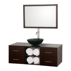 Wyndham Collection Abba 48-in. Single Bathroom Vanity Set - Create a new space for your daily routines with the contemporary style of the Wyndham Collection Abba 48-inch Single Bathroom Vanity. This vanity set is quality constructed of beautiful natural wood veneers over solid oak hardwood to constructed of beautiful veneers over the highest grade MDF. It features a vessel and sink in your choice of material and shape options designed to enhance your décor style. Lower open storage and smooth closing drawers offer ample space for all your bathroom necessities. The included mirror offers a sparkling reflection and can be hung either vertically or horizontally.About the Wyndham CollectionWyndham and the Wyndham collection are all about refinement, detailing, uniqueness, quality, and longevity. They are dedicated to the quality of their products and own the factory where each piece is constructed. This allows Wyndham to offer products that reflect the rigorous quality standards required for every piece that is offered to their customers. The Wyndham collection showcases elegant, modern design styles that highlight functionality and style in every detail.