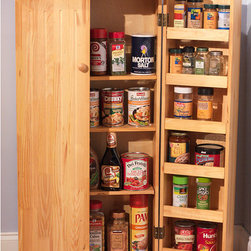 None - Pine Utility Kitchen Pantry - Add extra storage to your cooking area with this standing kitchen pantry. Crafted from sturdy pine with a natural finish, the cabinet is built with multiple shelves to store spices and small items, allowing reduced clutter and increased accessibility.