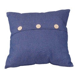 "Renovators Supply - Pillows Blue Cotton Poly Blend Button Pillow 17"" Square - Blue Button Pillow. This colorful pillow will add new colors and textures to your decor.  Button pillow is 17 inch square."