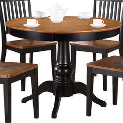 Steve Silver Candice 42 Inch Round Dining Table in Oak and Black