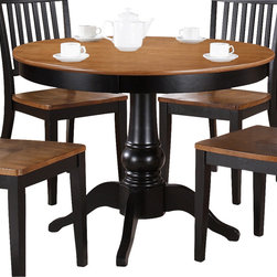 "Steve Silver - Steve Silver Candice 42 Inch Round Dining Table in Oak and Black - The Candice Collection offers country-style simplicity, transforming any dining area into a charming sanctuary. The black and oak Candice pedestal table features a beautifully turned base with a 42"" round top that will seat four comfortably. Add the Candice black and oak side chairs to complete the look. What's included: Dining Table (1)."