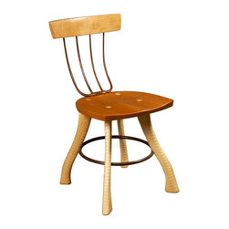 Dining Pitchfork Chair - I love the clever country style of this chair; it uses a pitchfork for the back and ax handles for the legs.