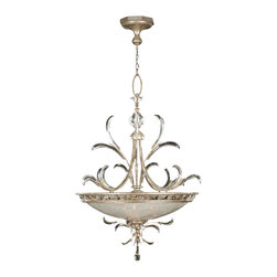 Fine Art Lamps - Beveled Arcs Pendant, 704440ST - Let this delicate fantasy pendant grace your favorite formal setting. The muted silver finish, iridescent basket and wealth of beveled crystal accents work in concert to utterly elegant effect.