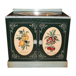 "Used 1860s Danish Decorated Cabinet & Washstand - A charming hand painted Danish pine cabinet and washstand, with a small backsplash. This antique piece is painted in foliage book plate style, with one metal door latch. Made in the 1860s-70s, it has age appropriate ""shabby chic"" wear throughout. It would make a great low washstand for adding a vessel sink."