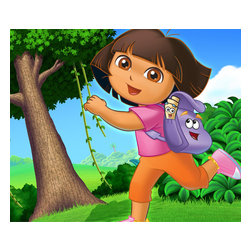 Oriental Furniture - Dora Wall Art - Dora the Explorer and her trusty friends Backpack and Map are off on another adventure in this colorful print. Authentic, licensed limited edition children's wall art is ideal for young adventurers.