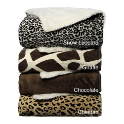 None - Animal Print Sherpa Decorative Throw Blanket - The lovely color and pattern options for this knitted blanket are Cheetah,chocolate,giraffe and snow leopard. Super soft and warm,this is a great throw to snuggle with on a cold chilly night.