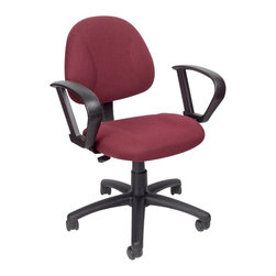 BOSS Chair - Computer Chair Fabric w Lumbar Support & Loop - Thick padded seat and back with built-in lumbar support. Waterfall seat reduces stress to your legs. Back height and depth are fully adjustable. Pneumatic seat height adjustment. 5 star nylon base allows smooth movement and stability. Hooded double wheel casters. With loop arms. Seat size: 17.5 in. W x 16.5 in. D. Seat height: 18.5 in. -23.5 in. H. Arm height: 26-33 in. H. Overall dimension: 26 in. W x 25 in. D x 35-40 in. H. Weight capacity: 250 lbs