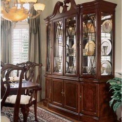 American Drew - American Drew Cherry Grove Breakfront China Cabinet - ADL1020 - Shop for China from Hayneedle.com! Cherry Grove China Cabinet Experience the elegance of traditional craftsmanship and divine style with the Cherry Grove China Cabinet. Dramatic arcs and pinnacle crown molding present a stately appearance that presides over any room. Display treasured items behind four sparkling glass doors that open to six adjustable glass shelves with plate grooves. Interior touch lighting casts a flattering glow enhanced by a mirrored back.The distinctive base provides ample storage behind four doors. These doors open to reveal adjustable shelving as well as a silver tray for convenient placement of fine silverware. Together these items make for an impressive piece that is designed to endure through generations. Crafted of alder solids and given a smooth glowing finish this piece will complete the look of your room.
