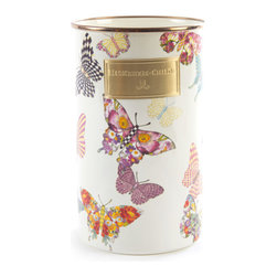 Butterfly Garden Enamel Utensil Holder - White | MacKenzie-Childs - Let your kitchen take flight! Butterfly Garden Enamelware features a colorful flutter of hand-applied butterflies. Each one shows off a signature MacKenzie-Childs pattern as it flits about. Lidded pieces are topped with a knob. Just as much fun indoors as out. Fancy that!